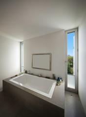 Interior bathroom, modern bathtub