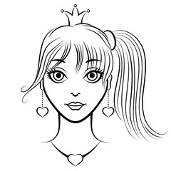 Contour portrait beautiful princess girl