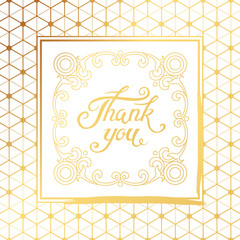 Thank You hand drawn lettering with Art Deco white frame