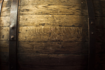 Wall Mural - background of barrel and worn old table  wood