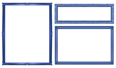 collection blue vintage frame isolated on white background, clip