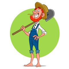 farmer with shovel. Vector illustration.