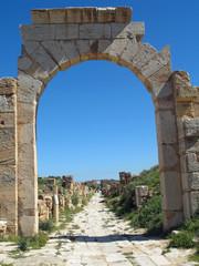Libye, voie romaine à Leptis Magna