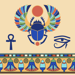 Scarab. Egyptian icons. Vector illustration