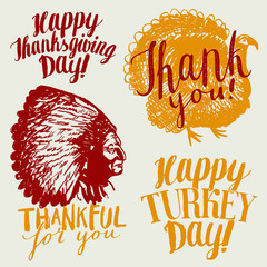thanksgiving day calligraphy. turkey label. native american label. thankful for you. thank you.