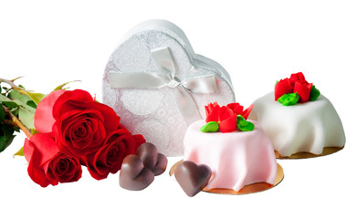Heart shape chocolate, roses, gift box and cakes isolated on white