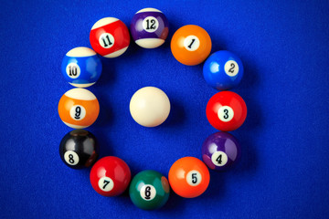 Billiard balls in a blue pool table.