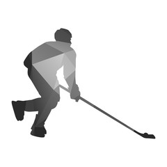 Hockey playe. Abstract vector silhouette