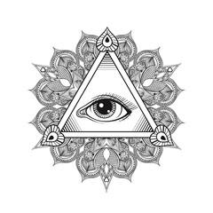Vector All seeing eye pyramid symbol. Tattoo design. Vintage han