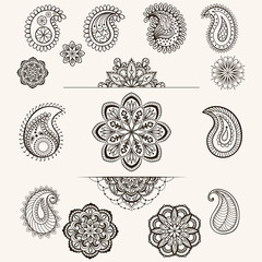 Vector henna mandala set, boho femine lace tattoo elements, desi