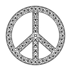 Zentangle black Peace Symbol , tattoo design in Hippie doodle st