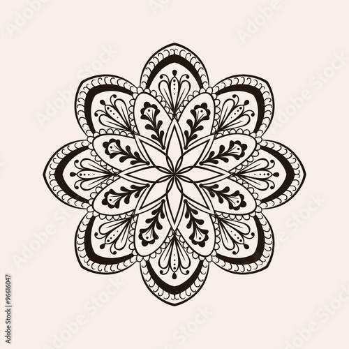 Vector Henna Ethnic Mandala Boho Tattoo Design In Doodle Style