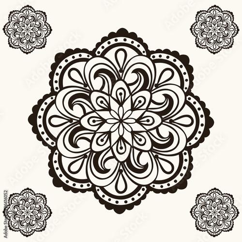 vector henna mandalas boho tattoo design in doodle style ornam rh fotolia com arabic henna designs vector henna vector designs free