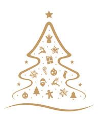 merry christmas tree decoration elements isolated background