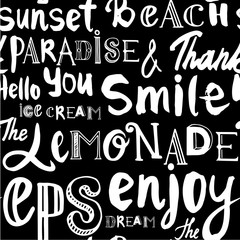 Seamless background of words. Enjoy and smile.