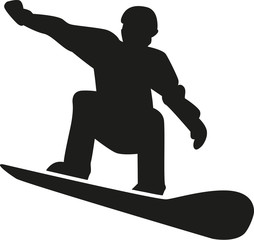 Silhouette of a snowboarder