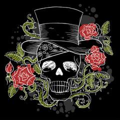Dark skull in the hat with roses