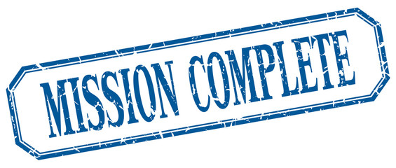 mission complete square blue grunge vintage isolated label