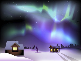 Aurora borealis and houses