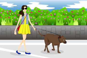 Girl Walking With Her Dog in the Park
