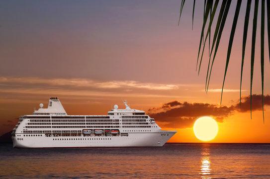 Luxury cruise ship, paradice sea sunset.