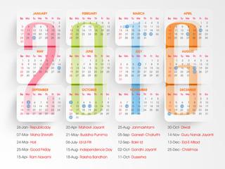 Creative yearly calendar 2016 design.