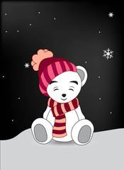 wnite teddy bear in a red cap and a scarf