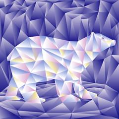 Polar bear of triangle shape. Colorful geometrical animal. Vector illustration.