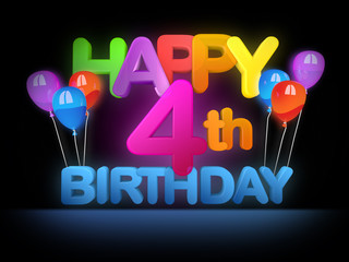 Happy 4th Birthday Title dark