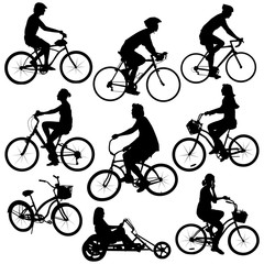 various cyclist silhouettes vector