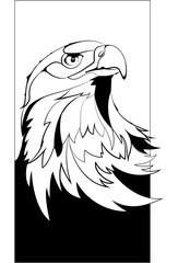 Fototapete - Eagle head in black interpretation