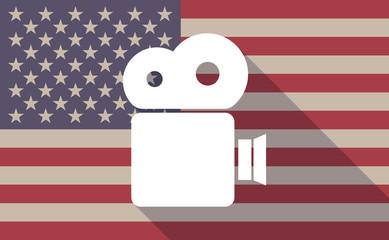 Long shadow vector USA flag icon with a film camera
