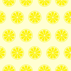 Seamless fruits vector pattern, bright symmetrical background with lemons over yellow backdrop