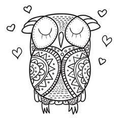 Cute decorative ornamental Owl fall in love.