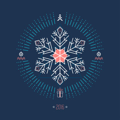 Christmas geometric background with white snowflake