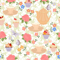 Seamless pattern with teapots, cups, cupcakes, flowers and butterflies.