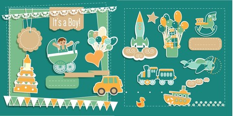 Baby Boy Shower ScrapBook Elements Vector Set