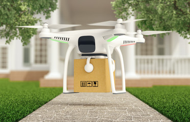Drone delivers a parcel in front of the house