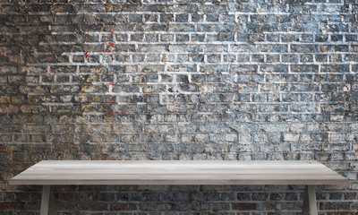 White wooden table with legs. Brick wall texture in background.