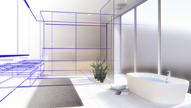 Modernes Badezimmer mit Sauna - Entwurf - 3D render