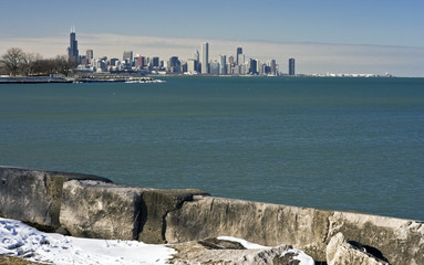 Fototapete - Distant View of Downtown Chicago