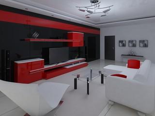 Interer functional modern living room.