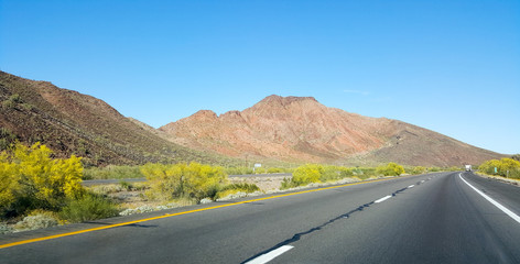 Driving on Interstate-10 East of city of Quartzsite in Arizona