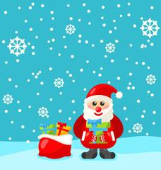 Jolly Christmas Santa Holding Up A Stack Of Presents