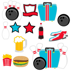 Set of vector bowling illustration