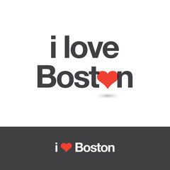 I love Boston. City of United States of America. Editable logo vector design.