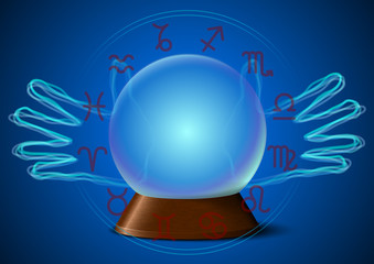 Magic ball with hands and zodiac signs
