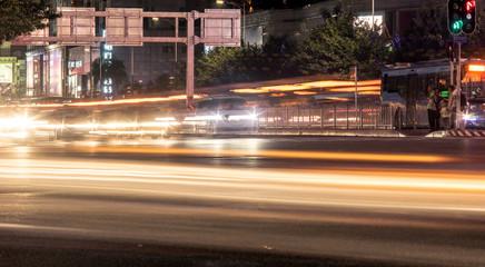 slow motion of urban traffic scene