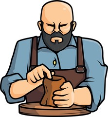 Pottery man vector illustration design
