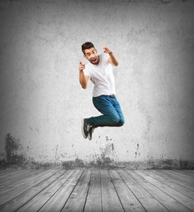 crazy man jumping